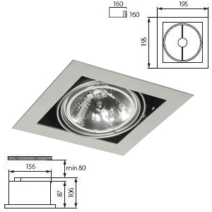 Downlight AR111 1 lampe sur Spot Orientable.